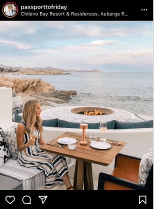 Influencer posting something on a resort
