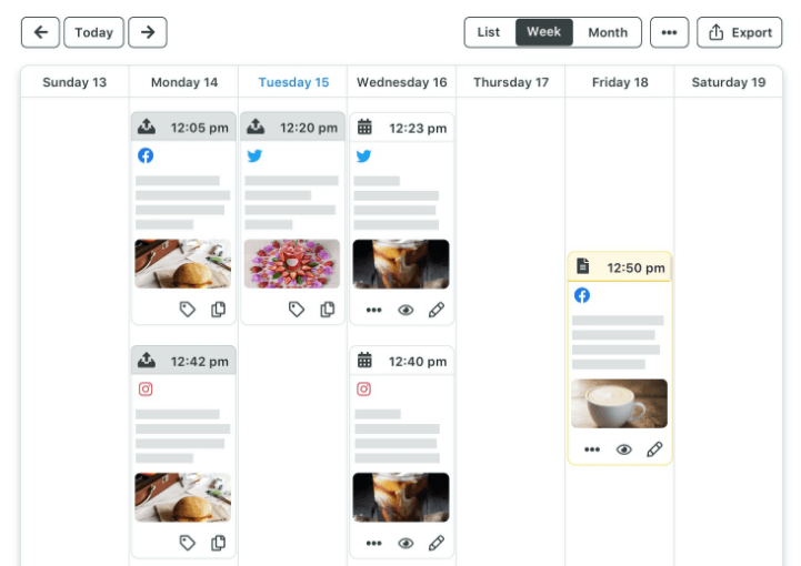 plan social posts ahead and see them on a calendar view