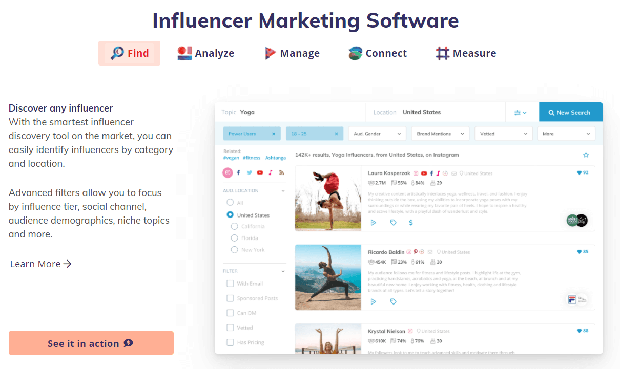 influencer marketing software specific for instagram and other social channels