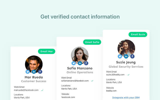 get contact information with leadiq