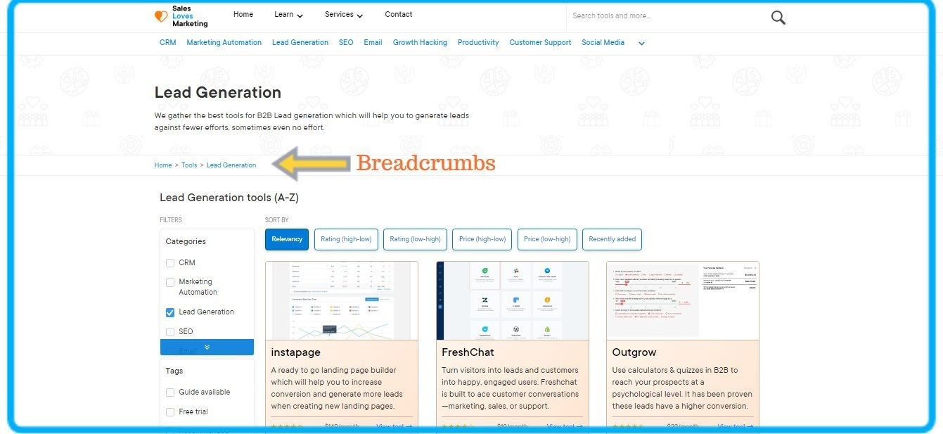 example of breadcrumps on the sales loves marketing website