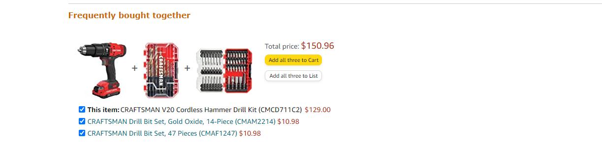 Bundle pricing example on buying something on Amazon