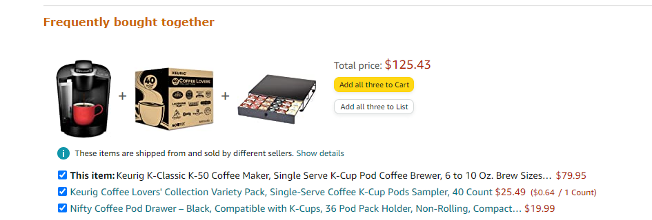 Example of captive pricing on Amazon