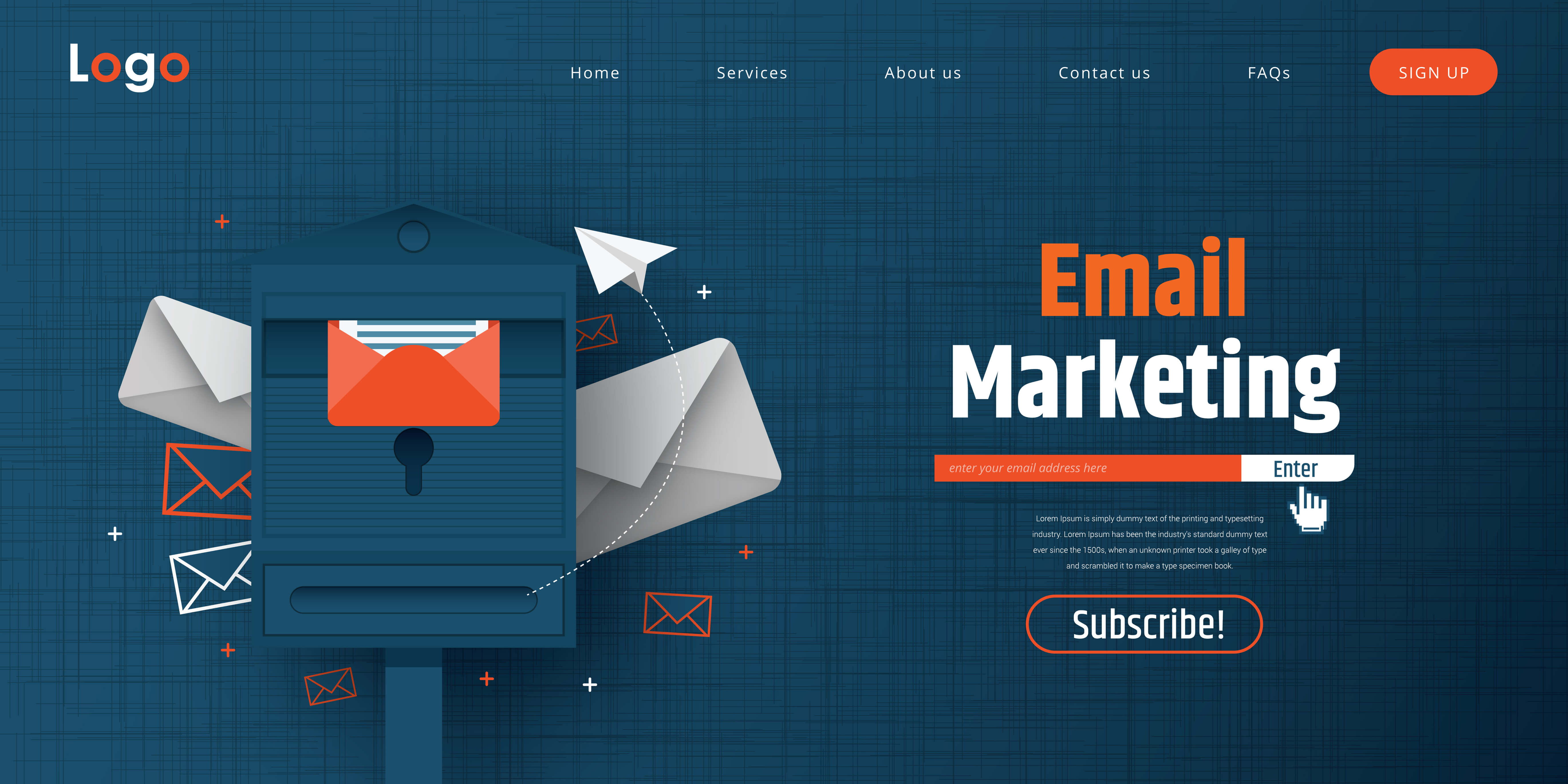 Sign up for email marketing newsletter example website.