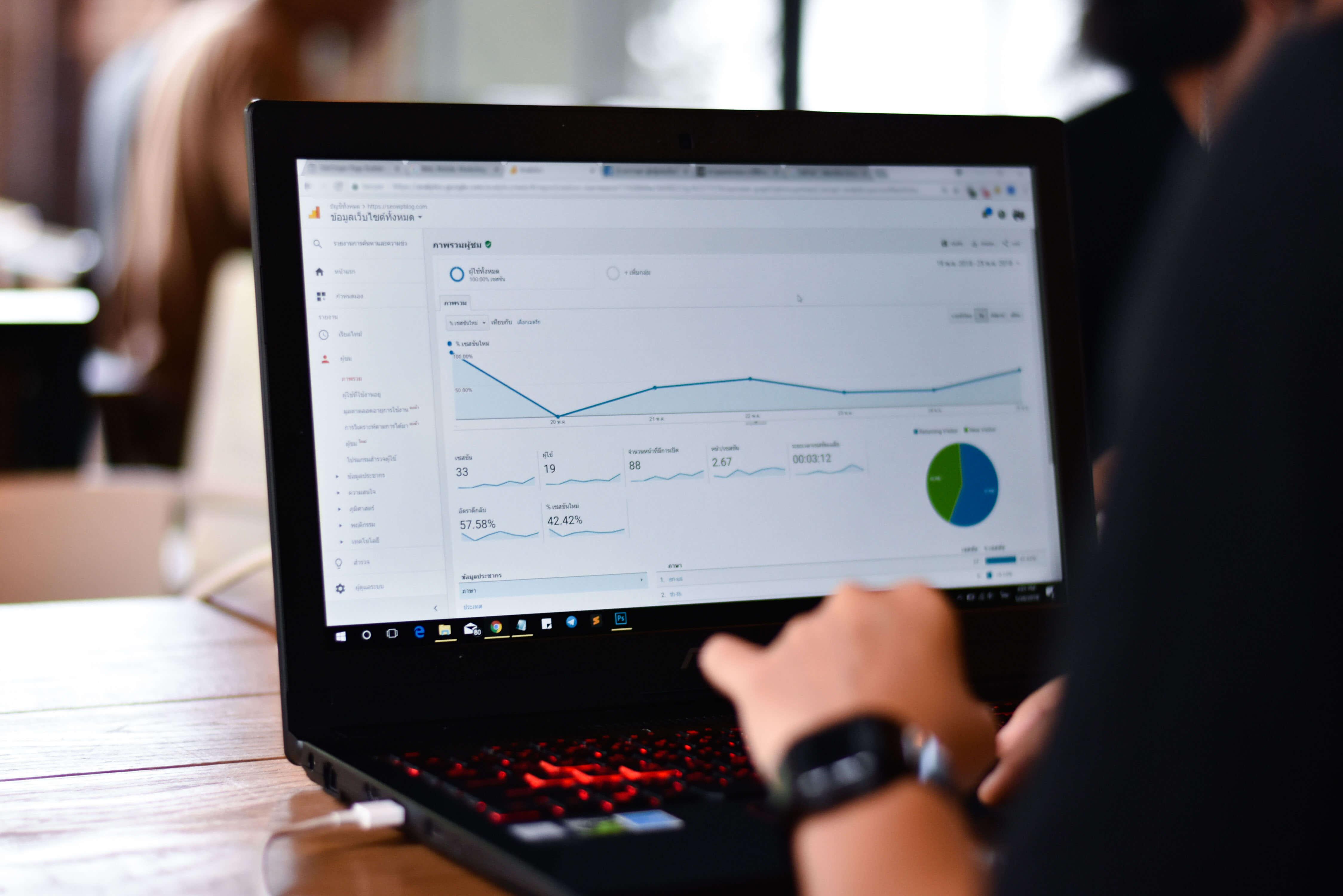 laptop showing google analytics on it.