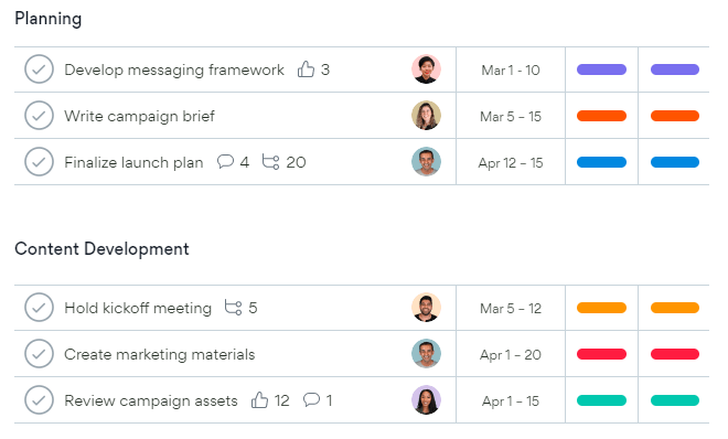 organise your projects and roadmap with Asana.