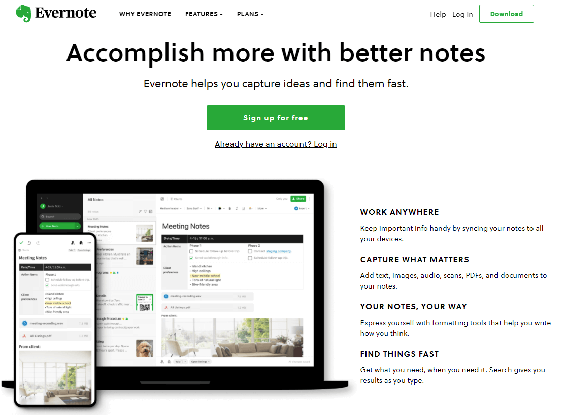 Screenshot of the evernote website. Which helps you organised