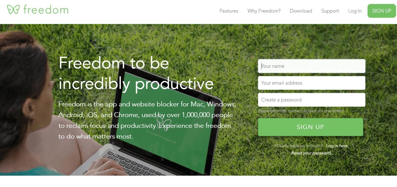 screenshot of the freedom productivity app website.