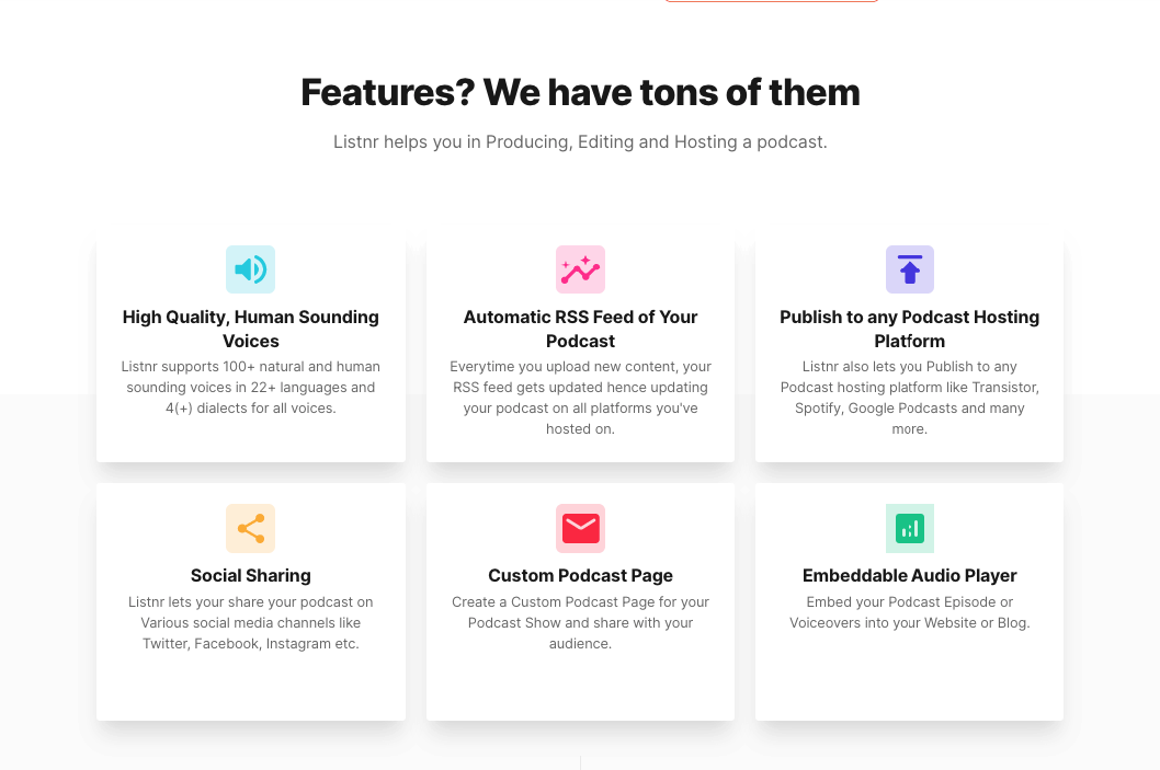 features of listnr.tech