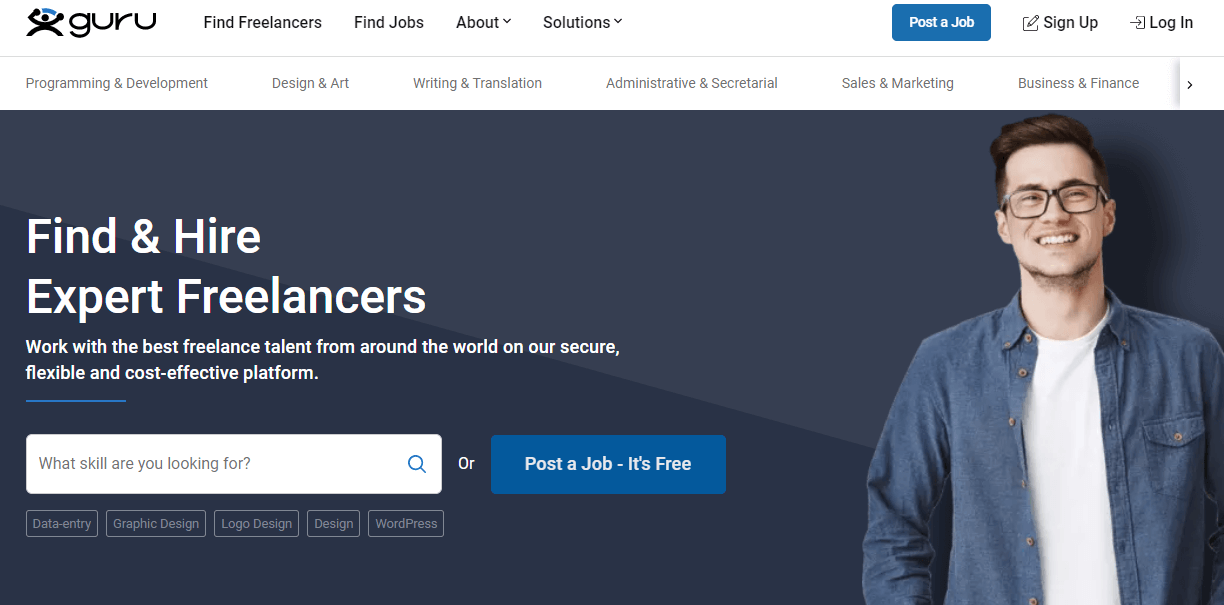 Guru allows you to find any type of freelancer with ease