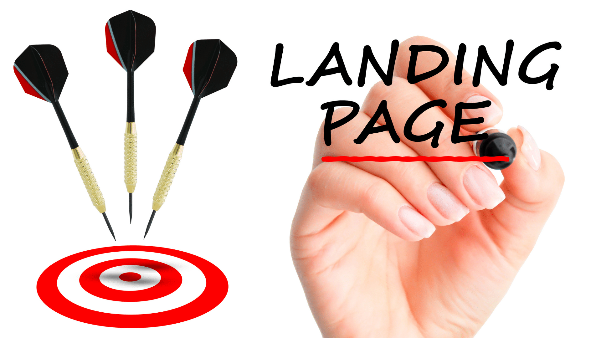 Landing page text with a marker