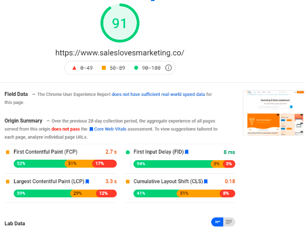 results of a page speed insights check by google