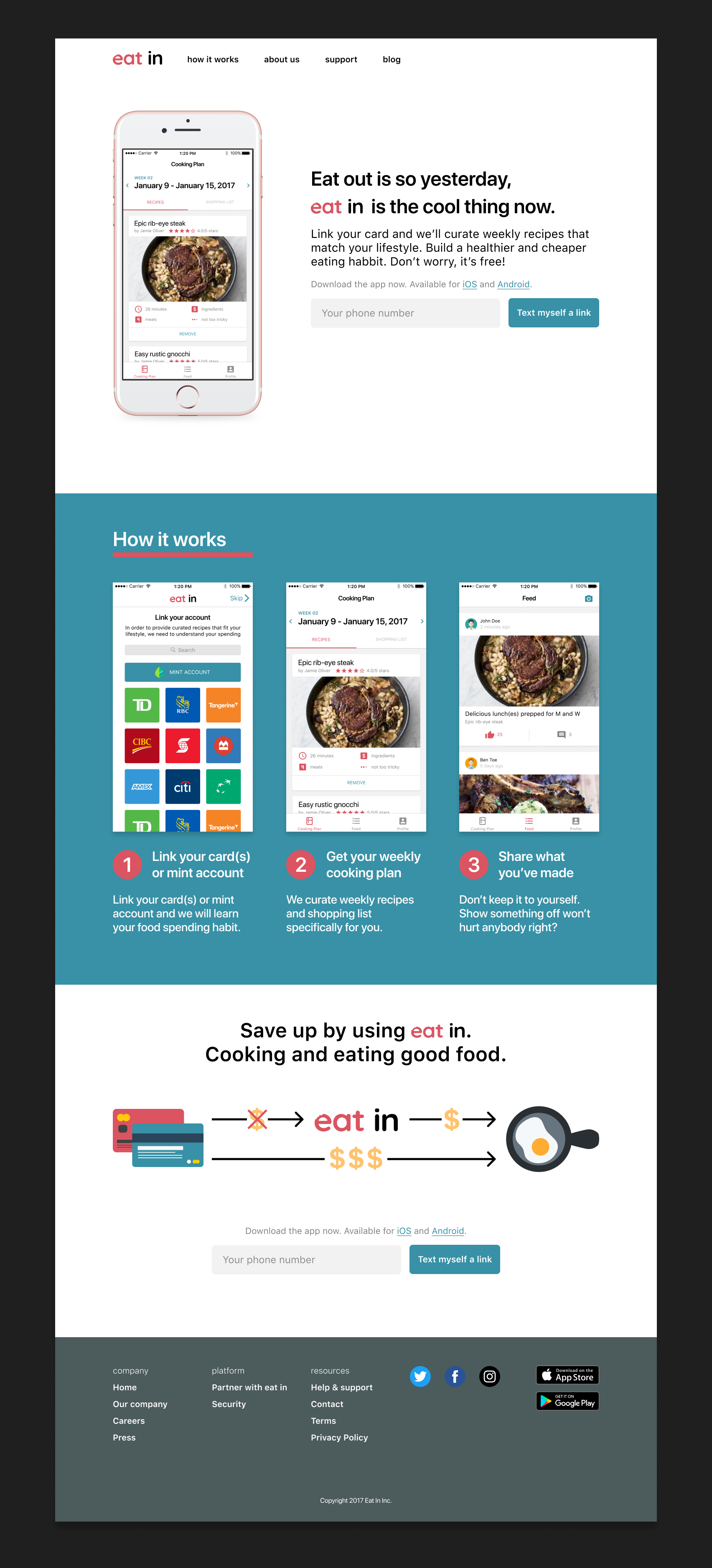 Eat in marketing homepage.