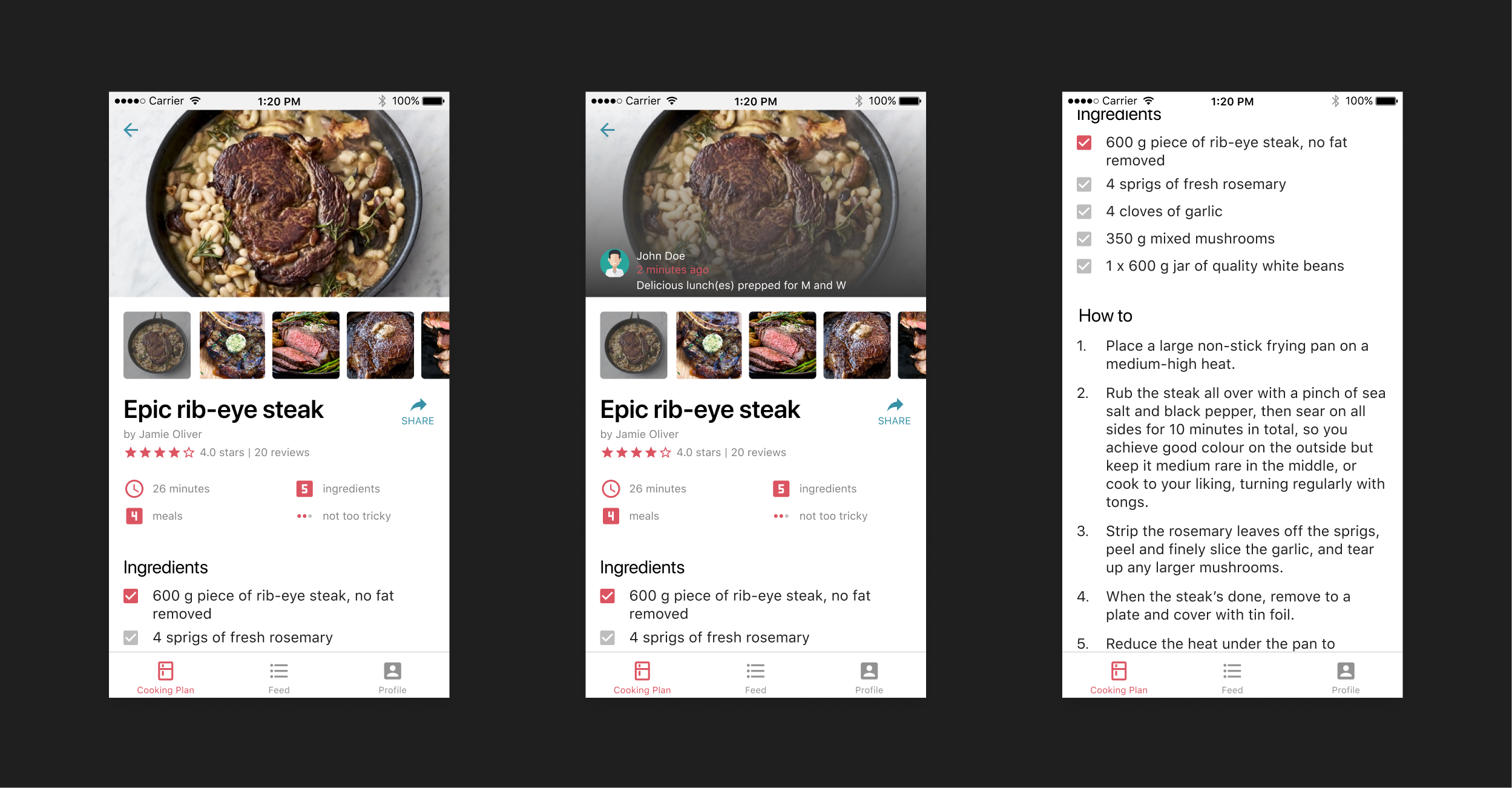 Eat in recipe screens.