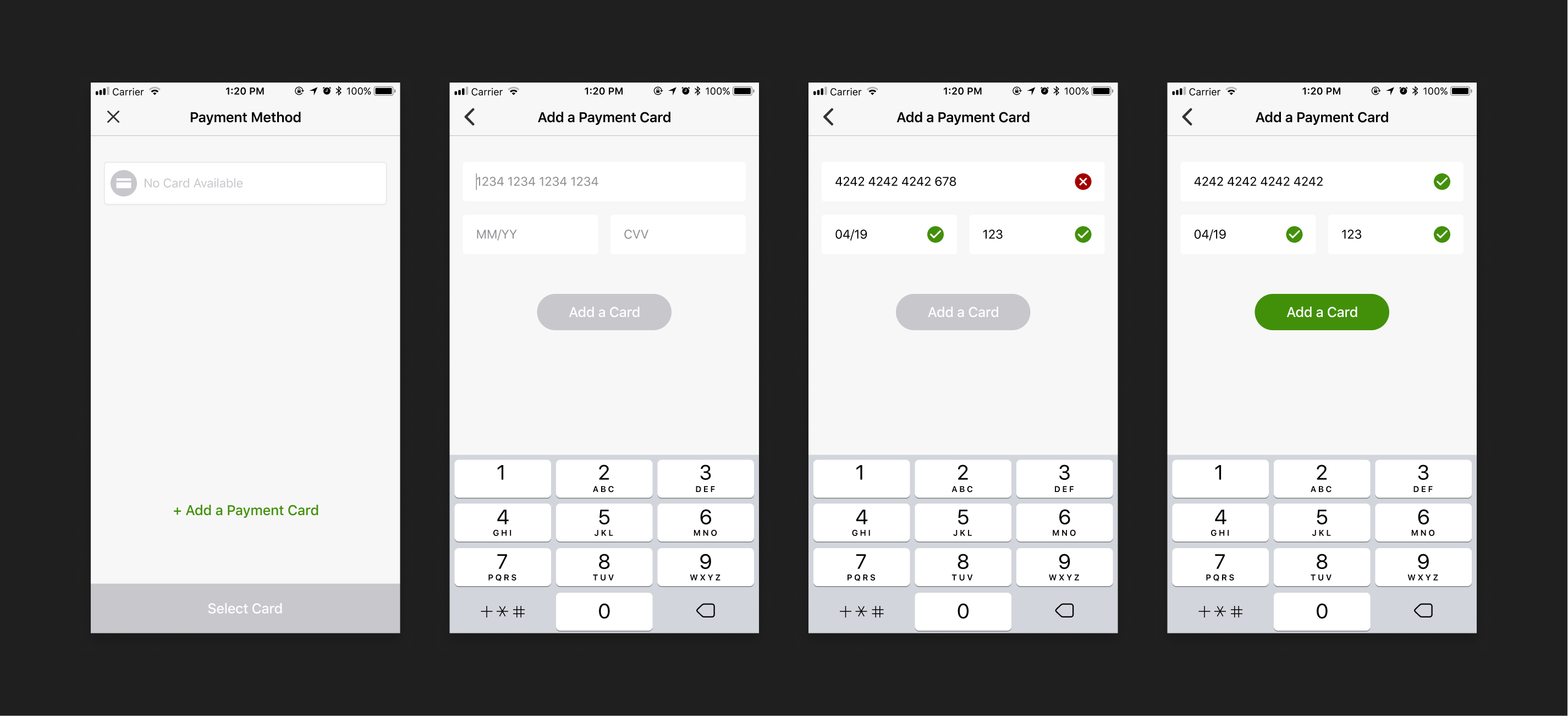 Flashfood payment method view