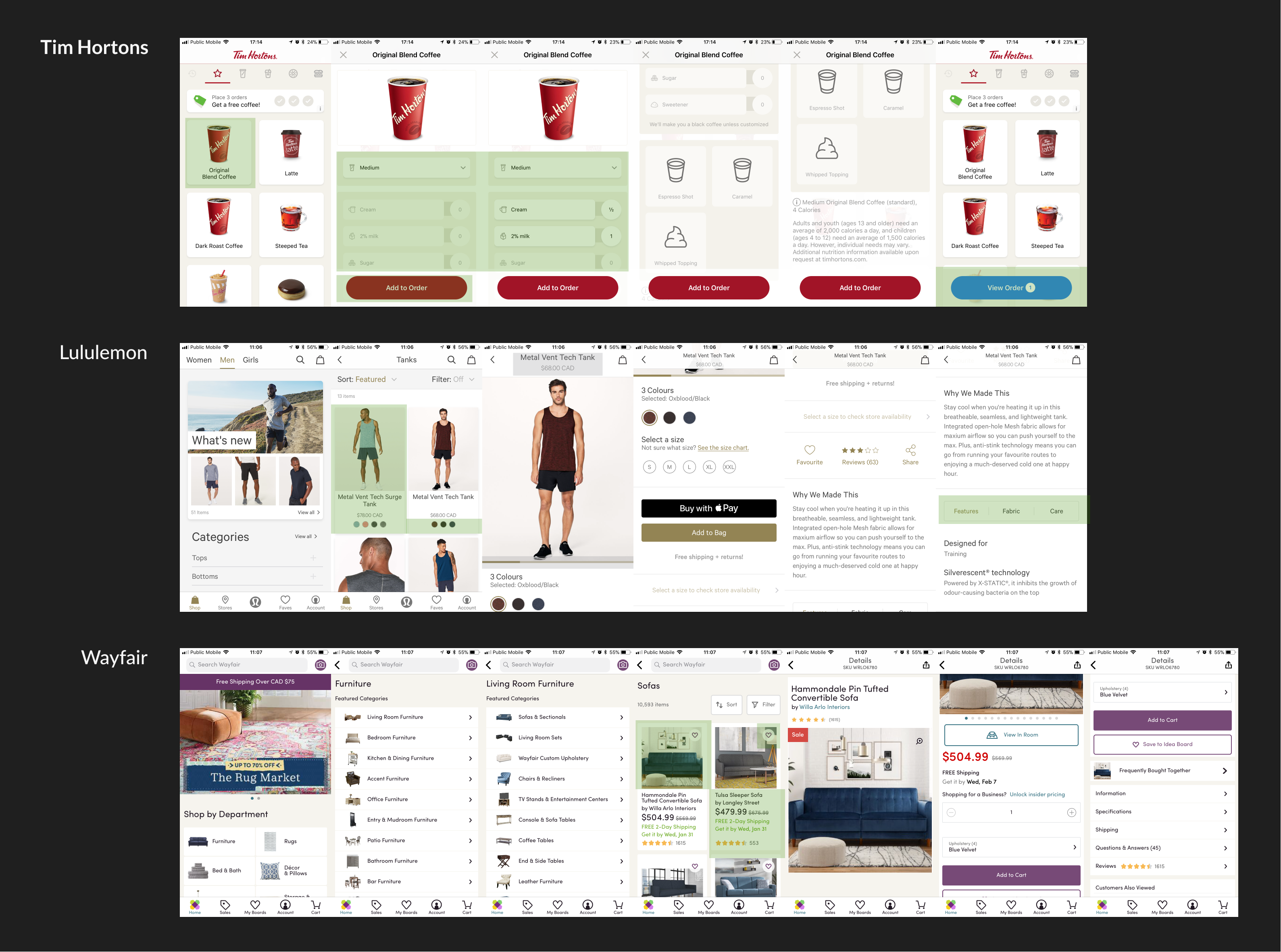Market research on Tim Hortons, Lululemon, and Wayfair app