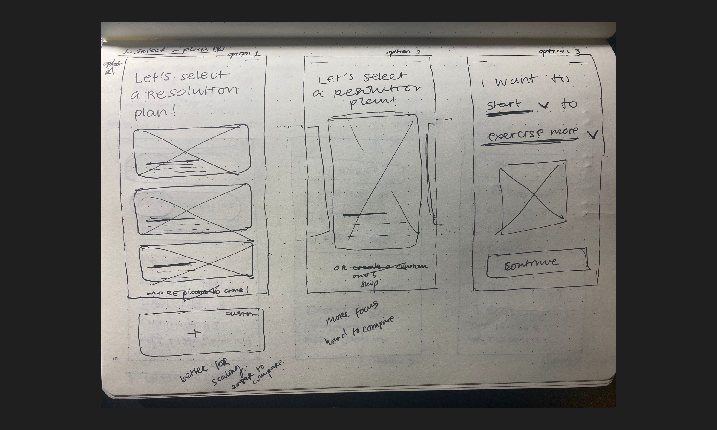 Wireframe sketches for plan options