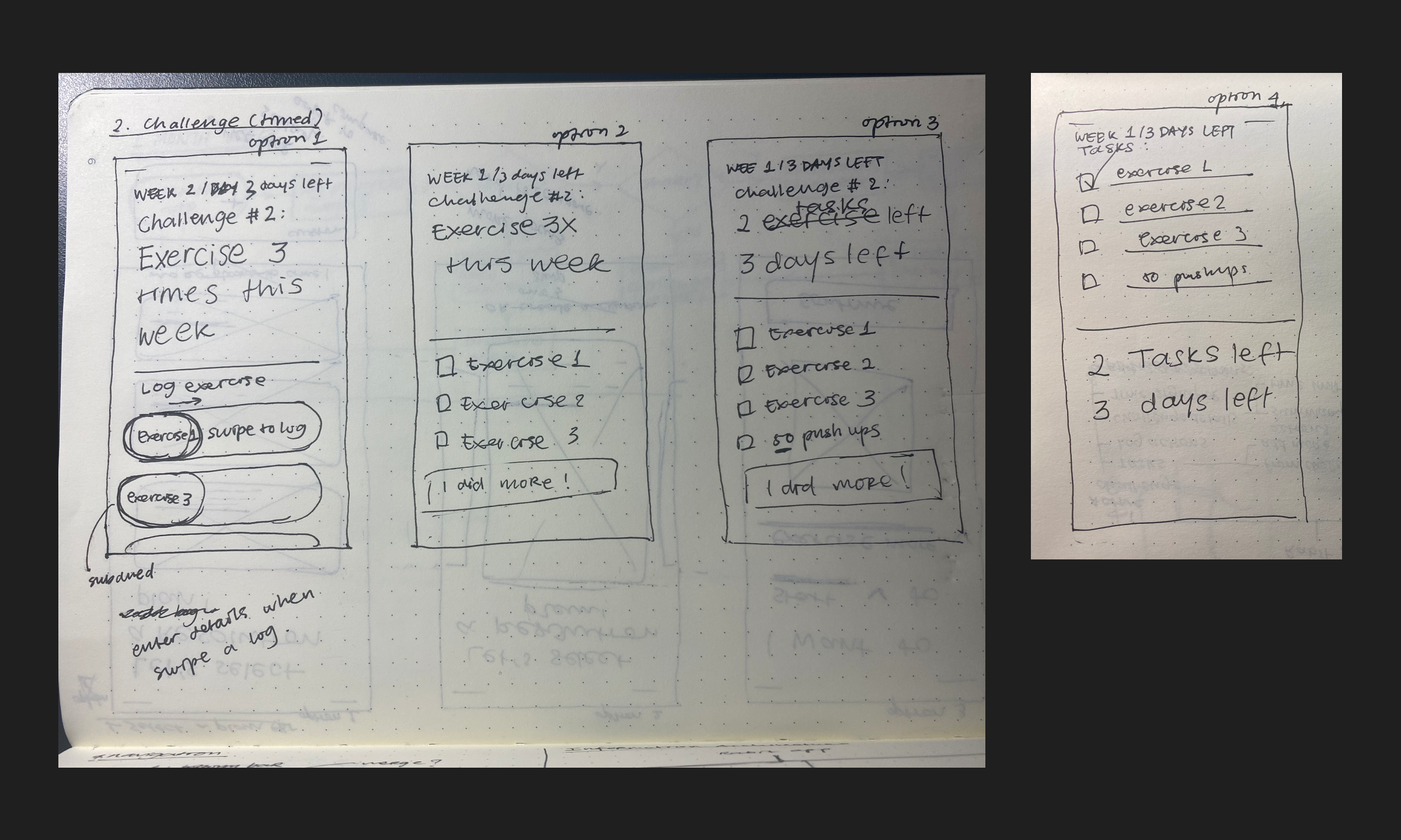 Wireframe sketches for the challenge/tasks screen