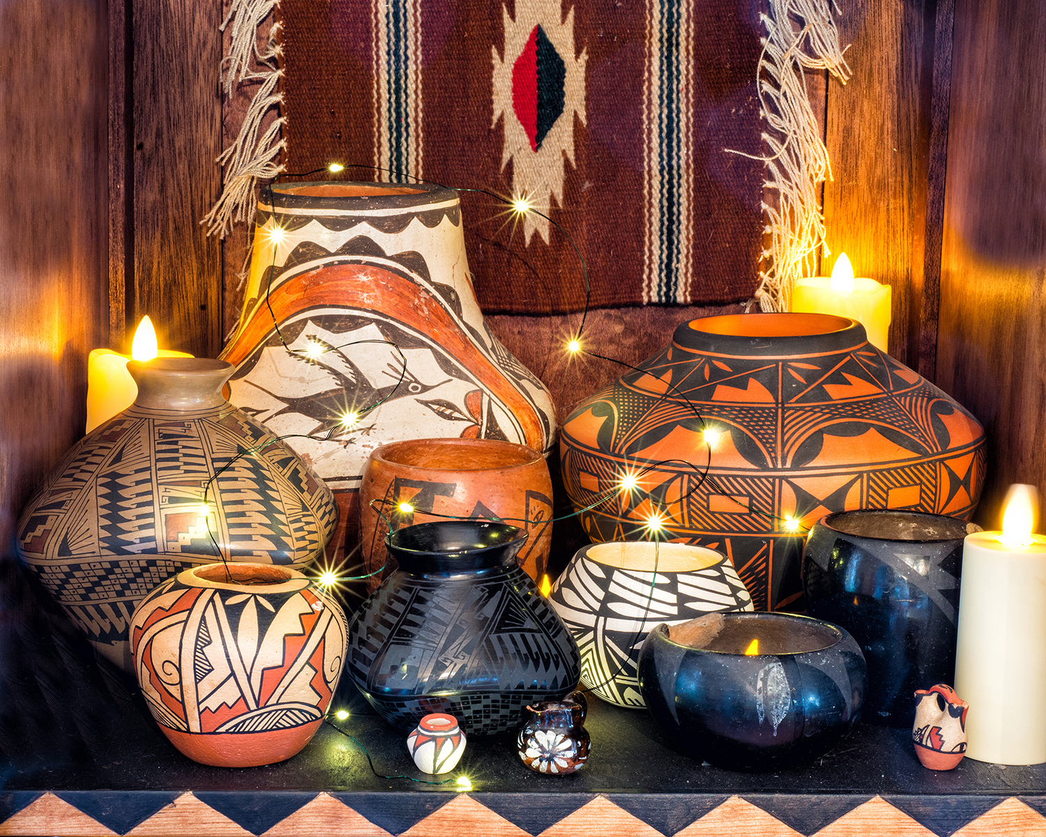 A collection of Native American pottery