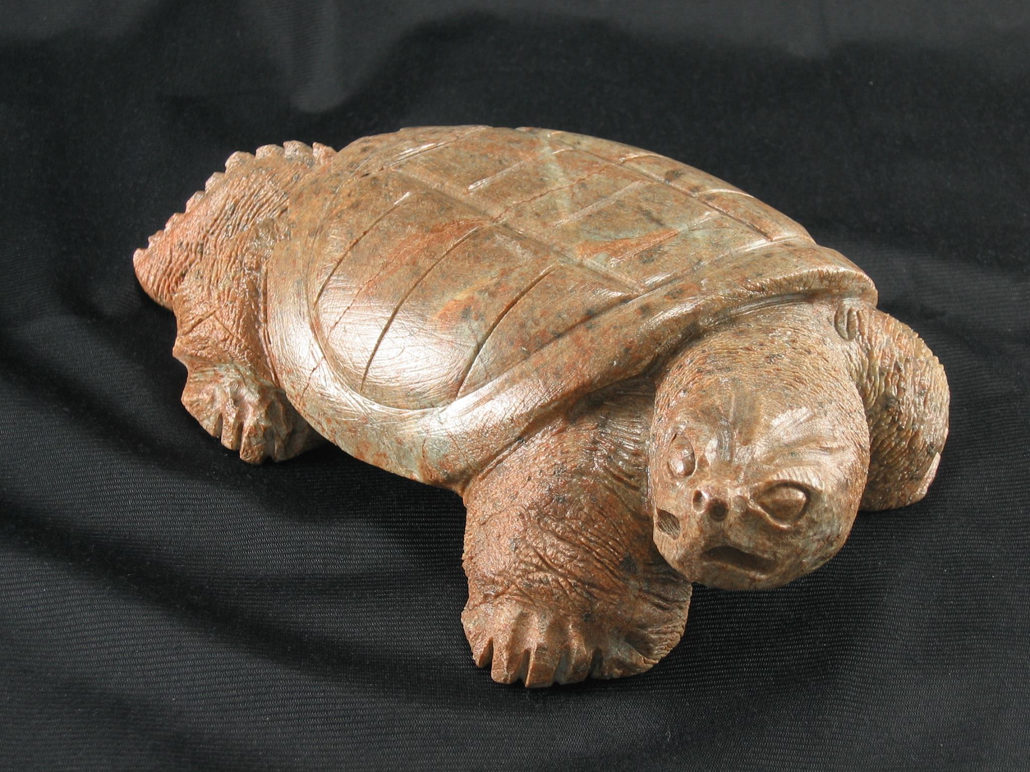 Snapping Turtle Soapstone Sculpture by Cayuga Artist, Sam General