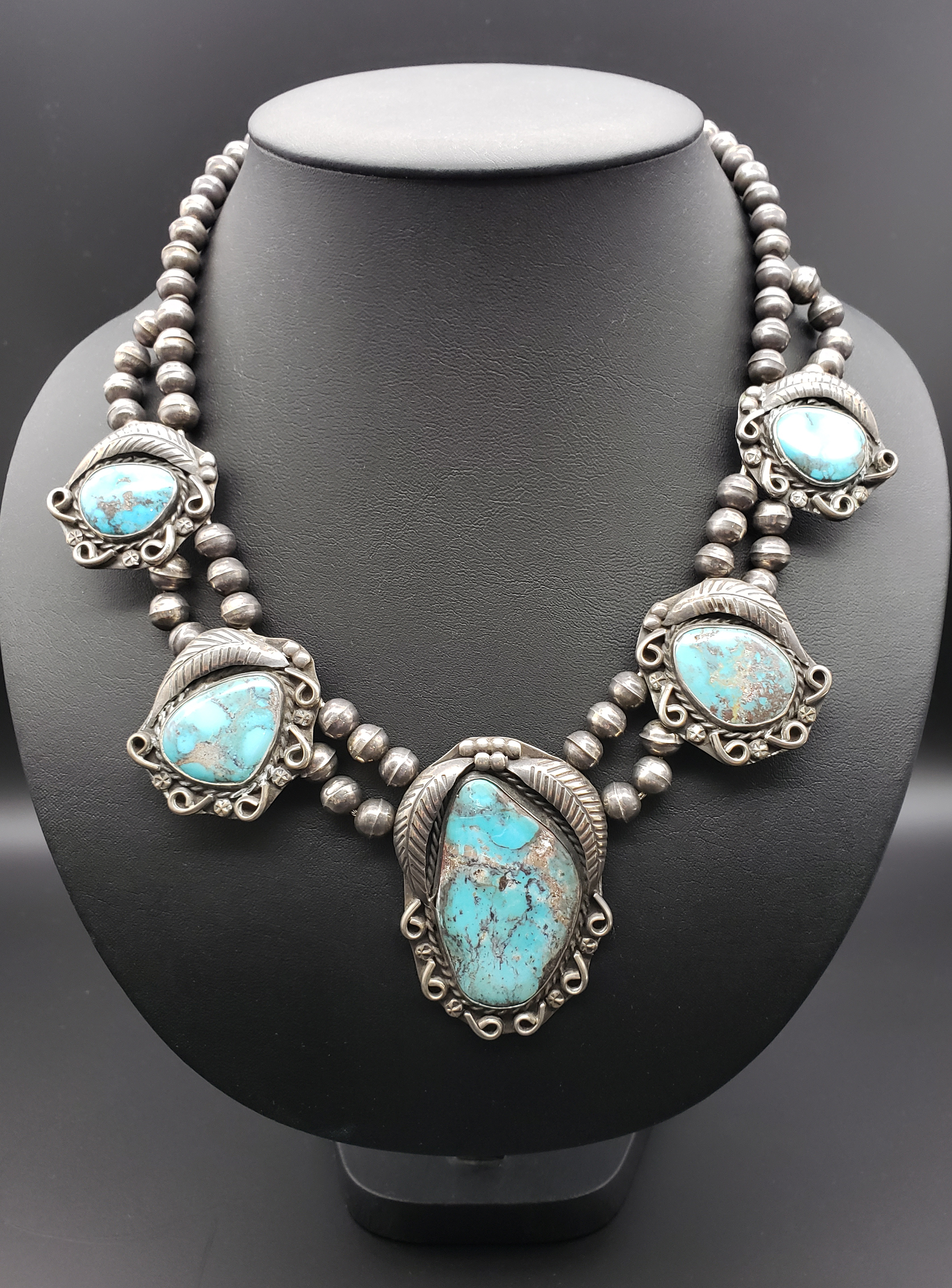 Navajo made necklace from the early 1960's by Esther Keesonnie Brown.