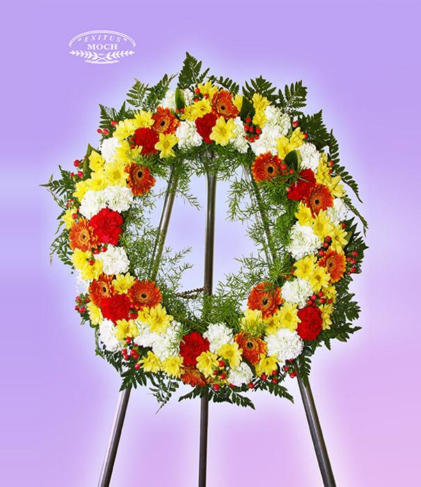 wieniec pogrzebowy z kwiatów żółtych i czerownych