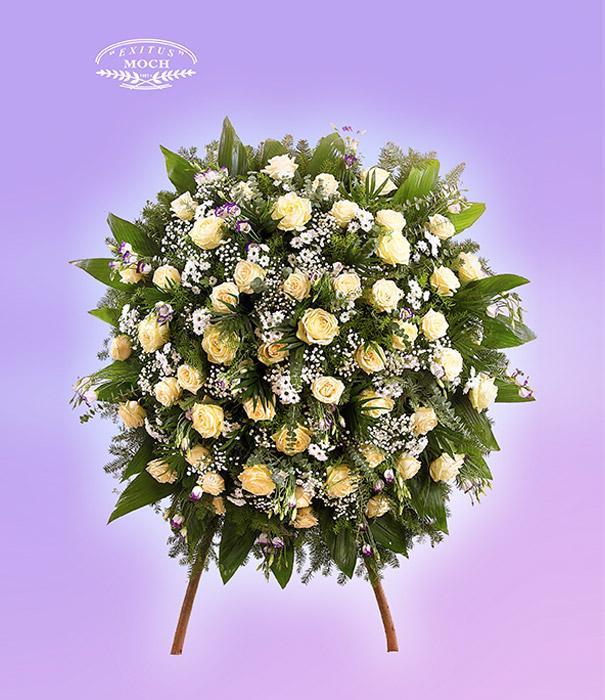 wieniec pogrzebowy z białych kwiatów