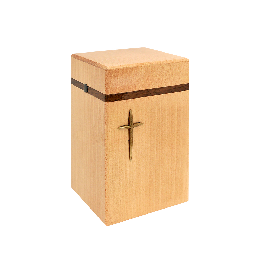 Urna drewniana z krzyżem