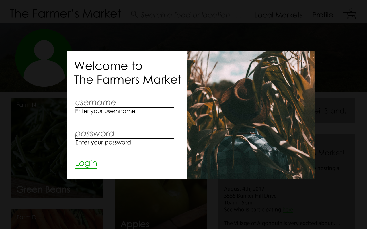 The Farmers Market Welcome Screen