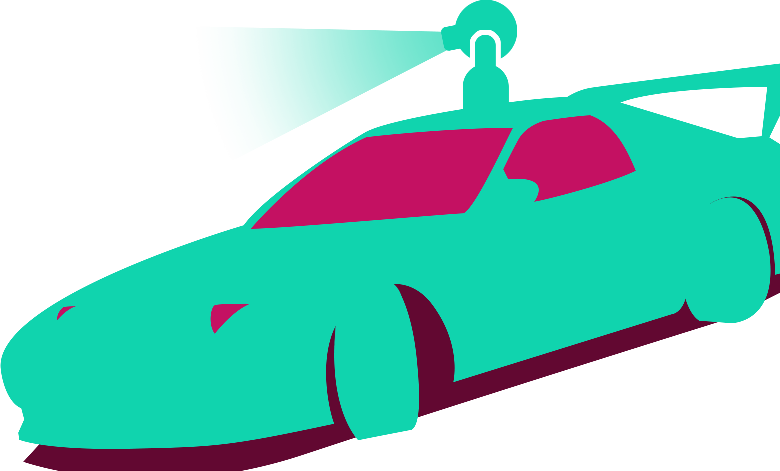 Teal self-driving race car drifting