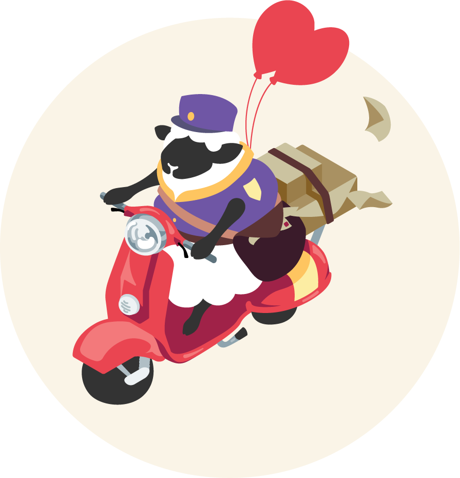 Courier balloon sheep riding vespa with packages