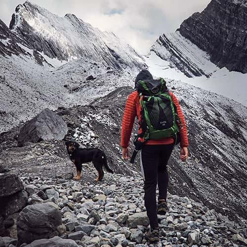 Luca Li hiking Old Goat Glacier with Baloo