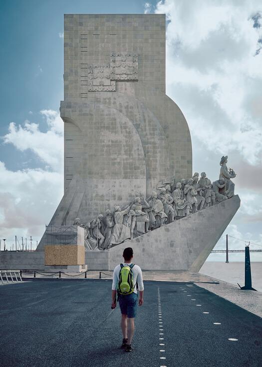 Traveler (Luca Li) walking towards the Discoveries Monument in Lisbon, Portugal