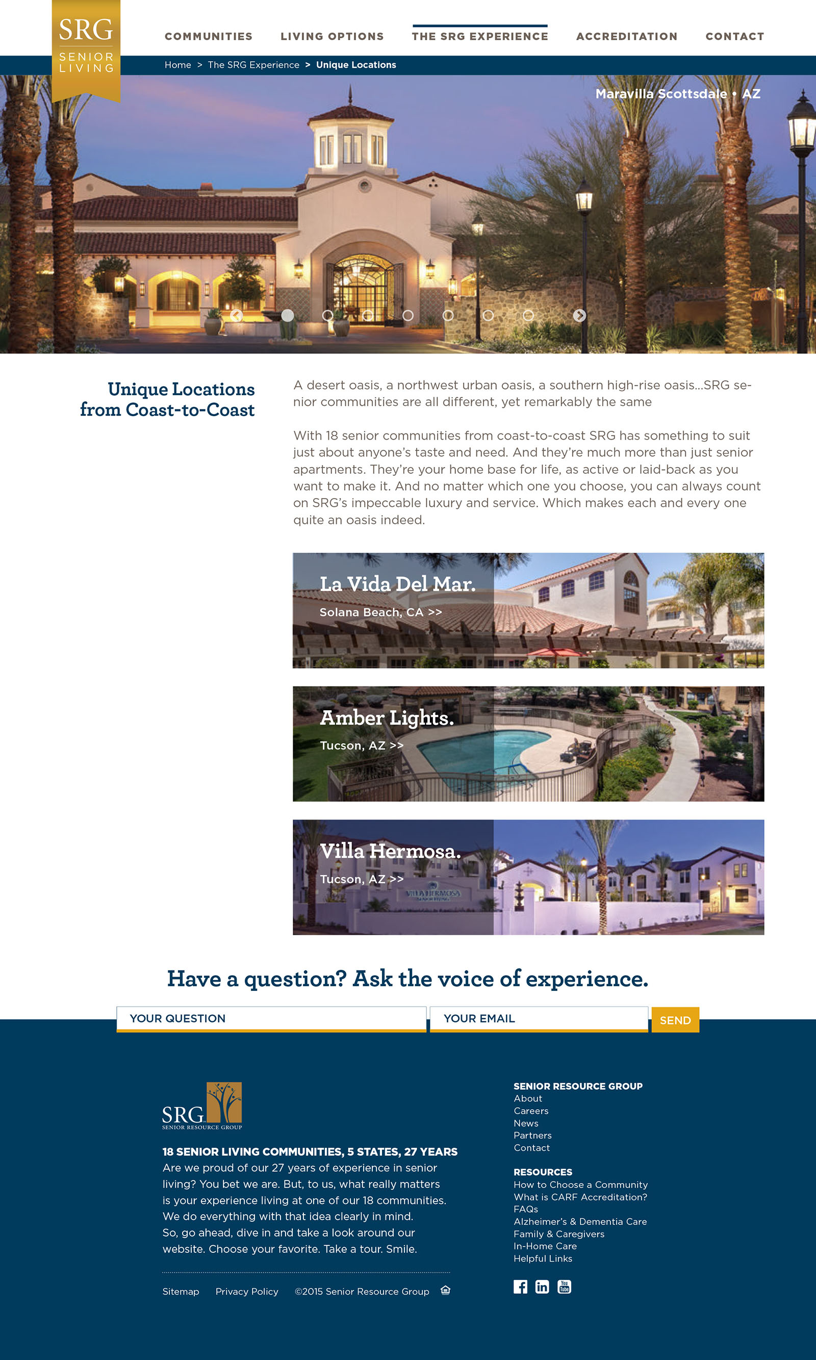 SRG Senior Living - Website Design
