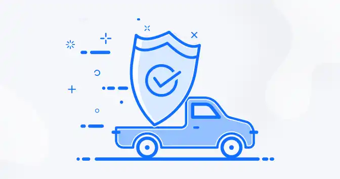 blue graphic of truck carrying a shield
