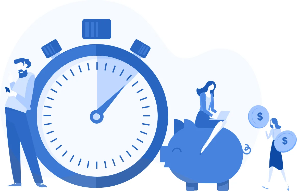 blue graphic of clock and piggy bank