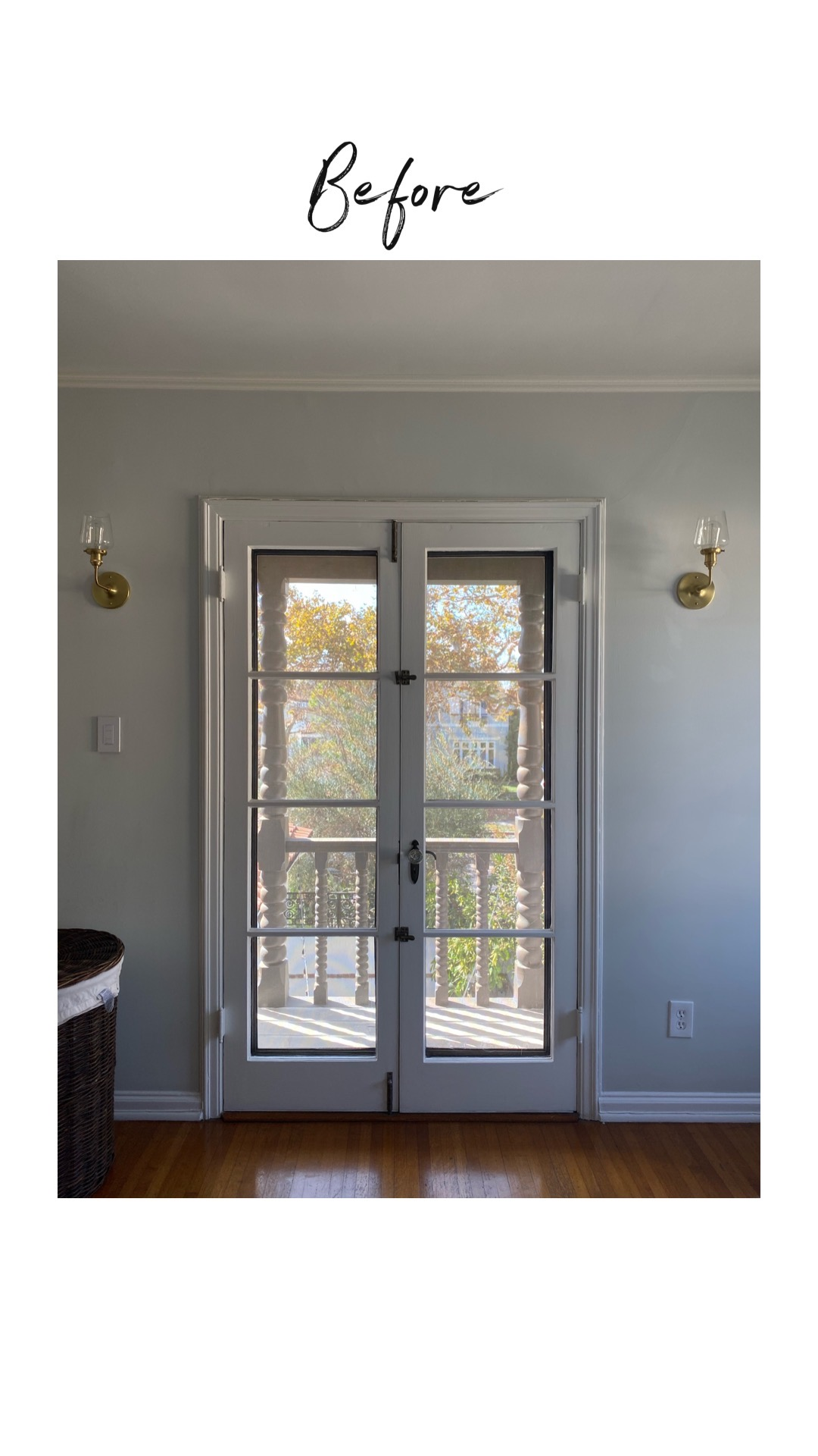 A bedroom renovation that starts with bare French doors that lead outside to balcony
