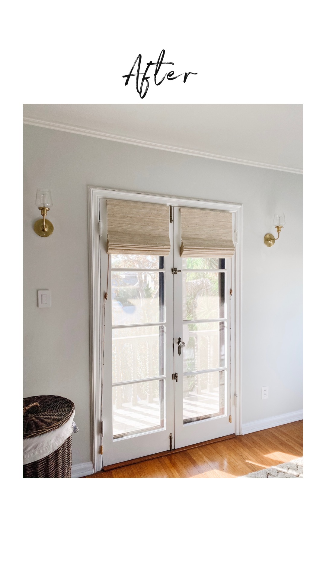 Before and after renovation reveals khaki-colored woven woods on a set of French doors
