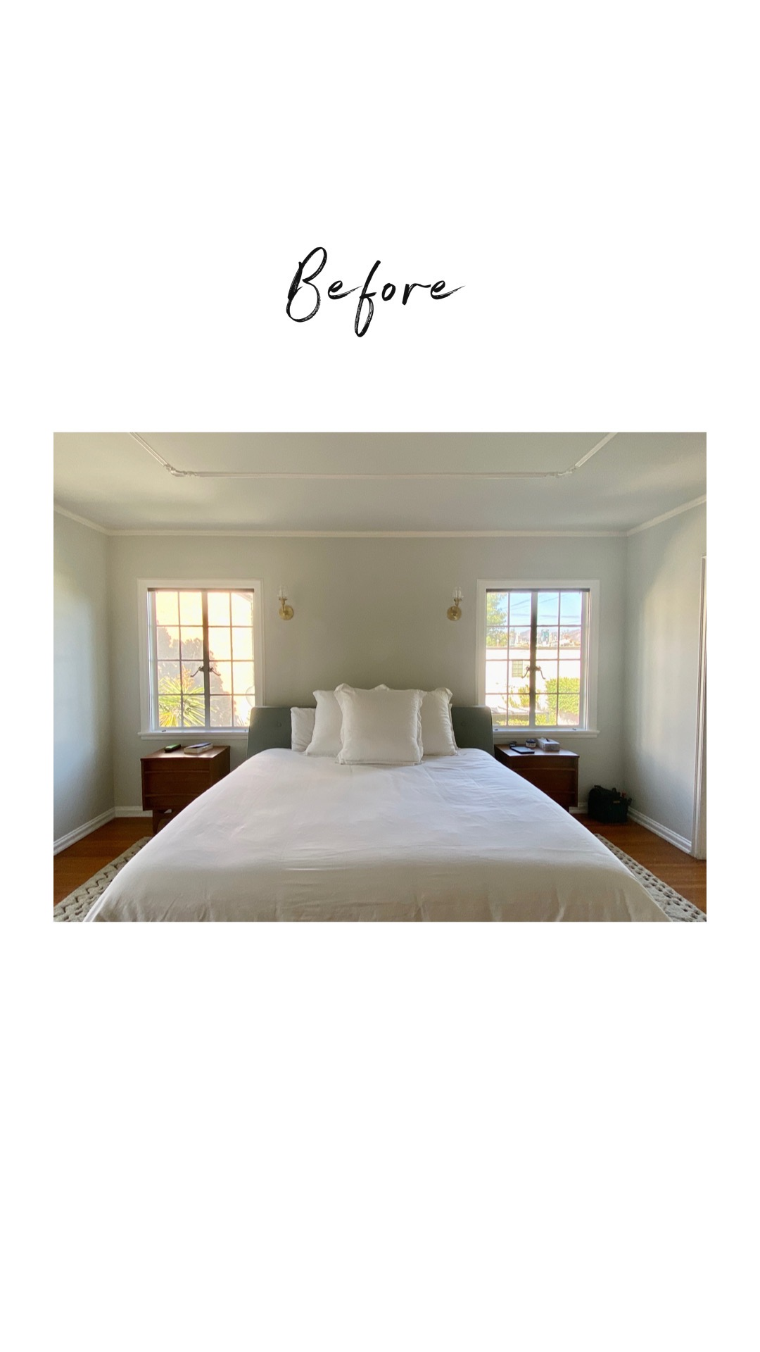 Before and after renovation starts in the master suite with a bare window on both sides of the bed