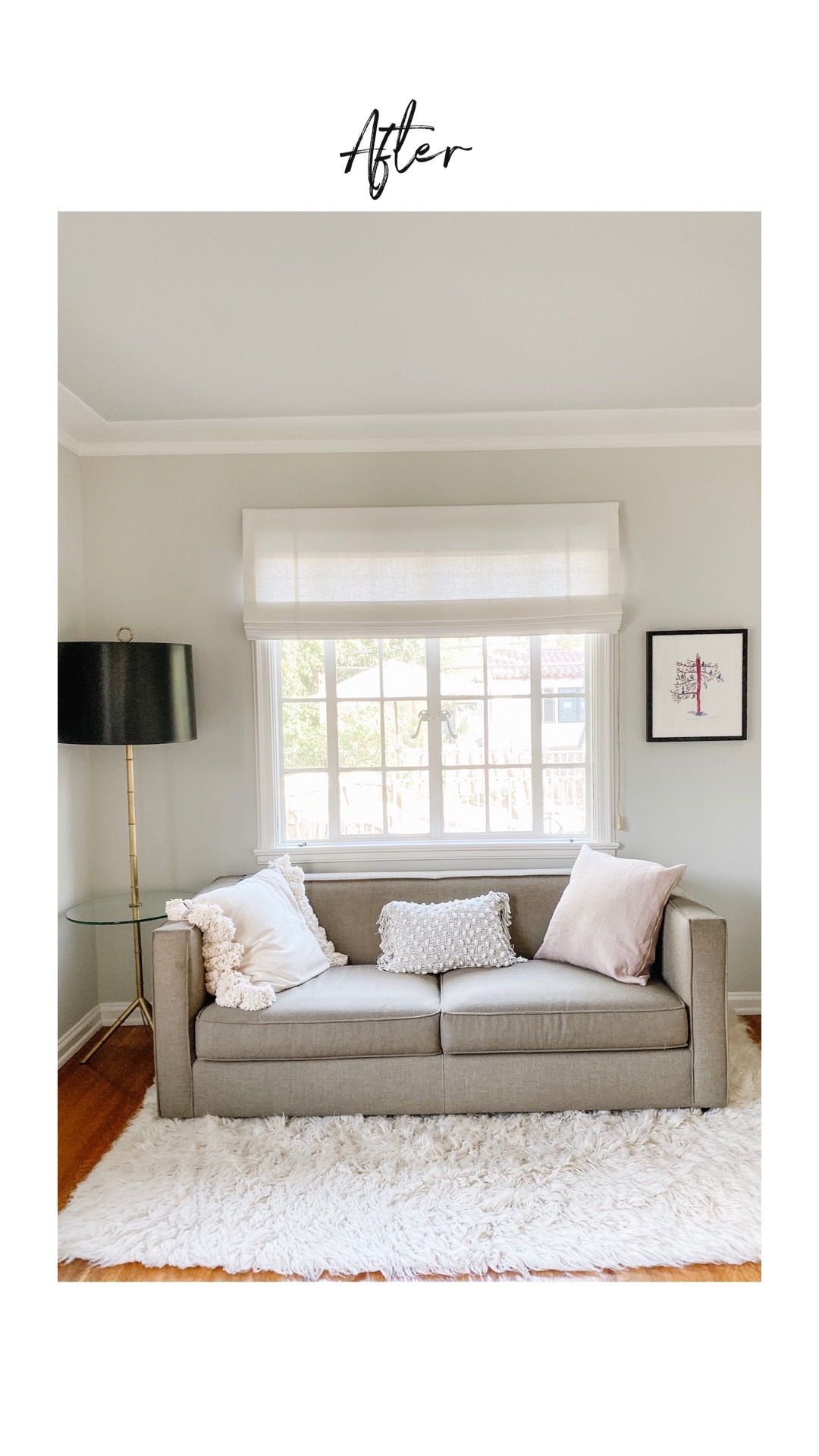 Scandinavian-style living room sees before and after renovation with Roman shades on large window
