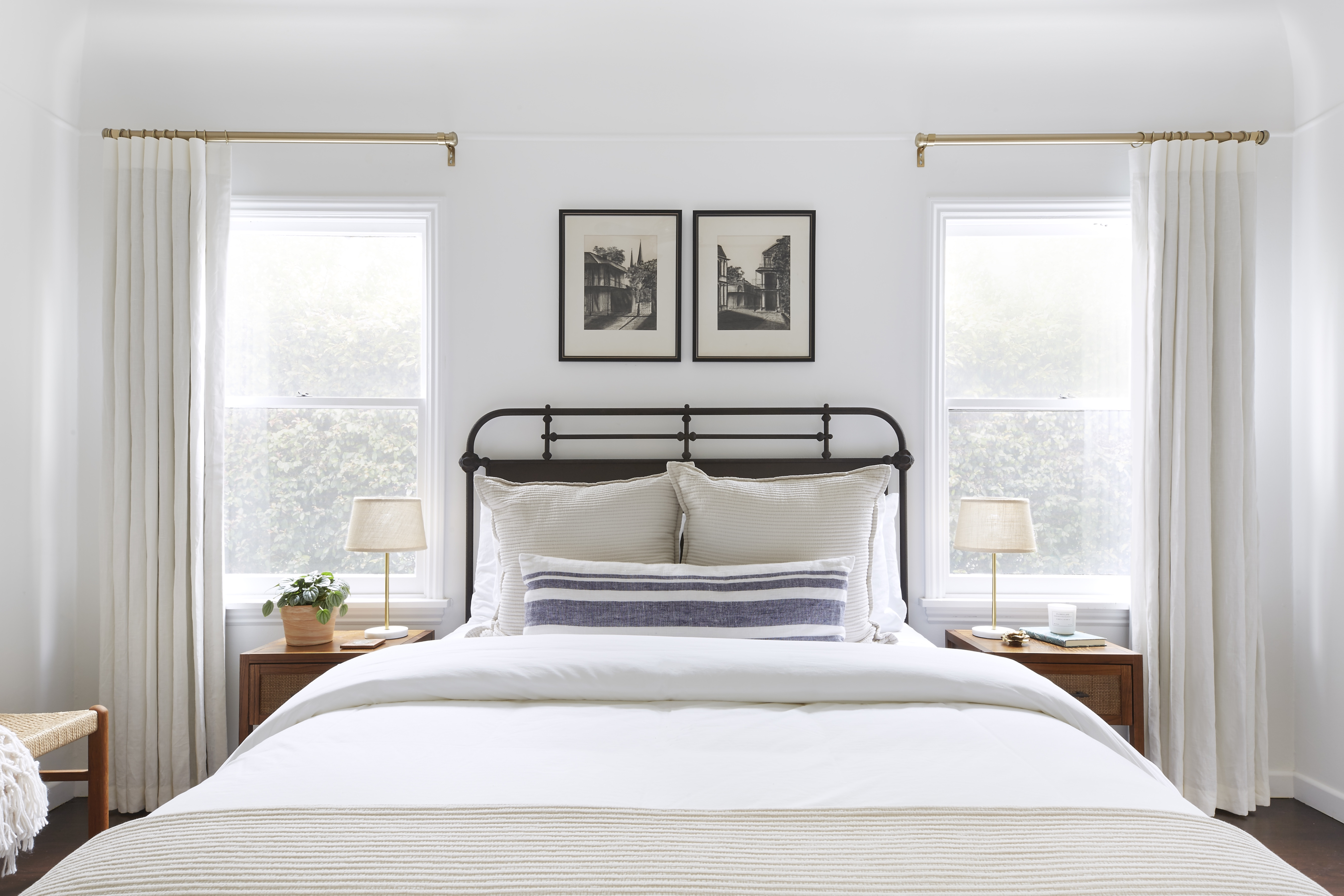 This modern master bedroom feels like a sleep sanctuary with Everhem's neutral linen drapes