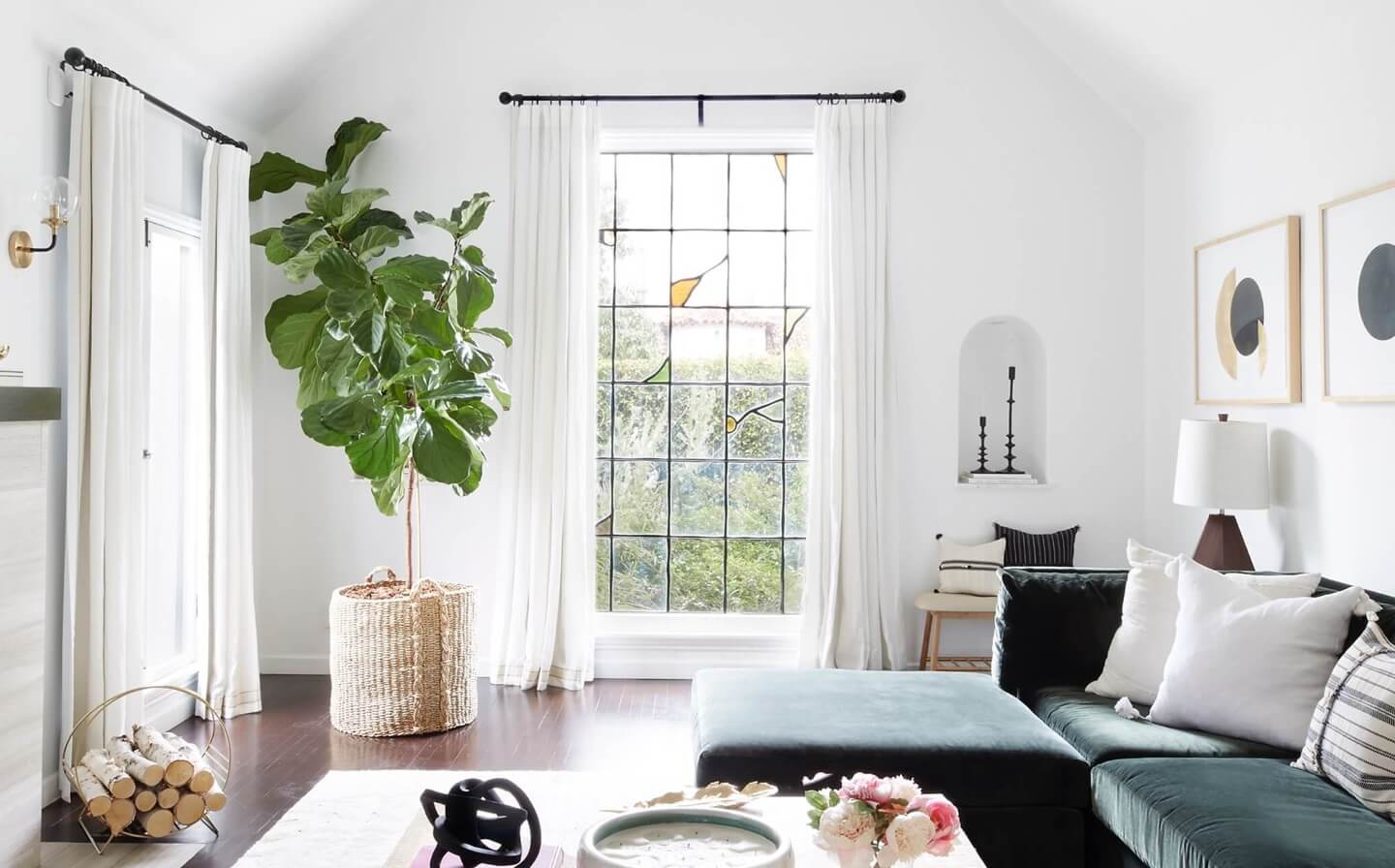 A living room with custom drapes covering two windows | Everhem