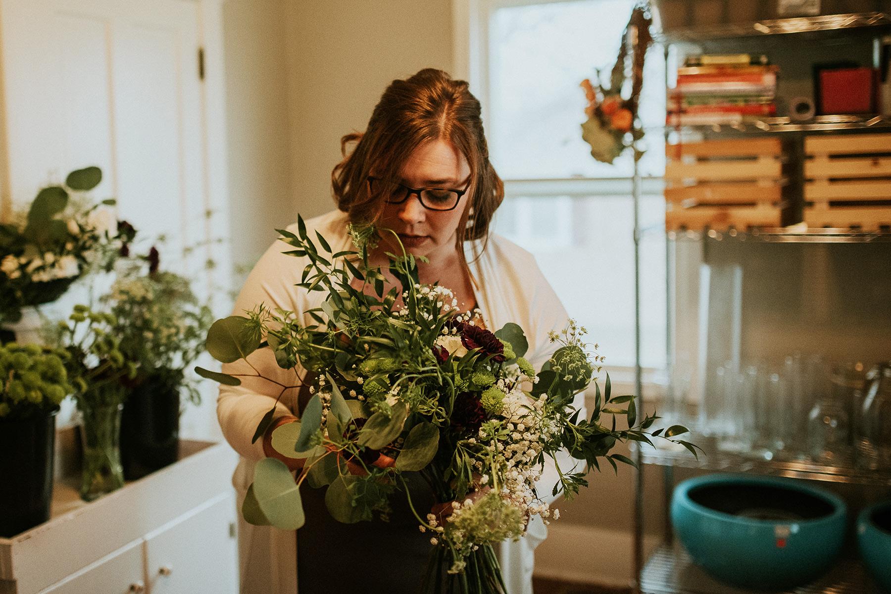 Sara adjusting bouquet