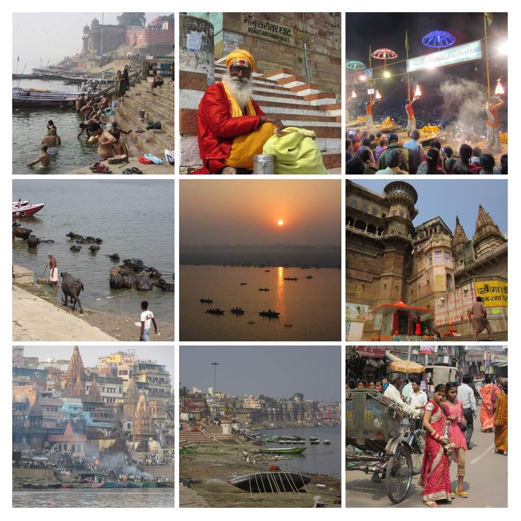 A collage pictures of varanasi and ganga tour