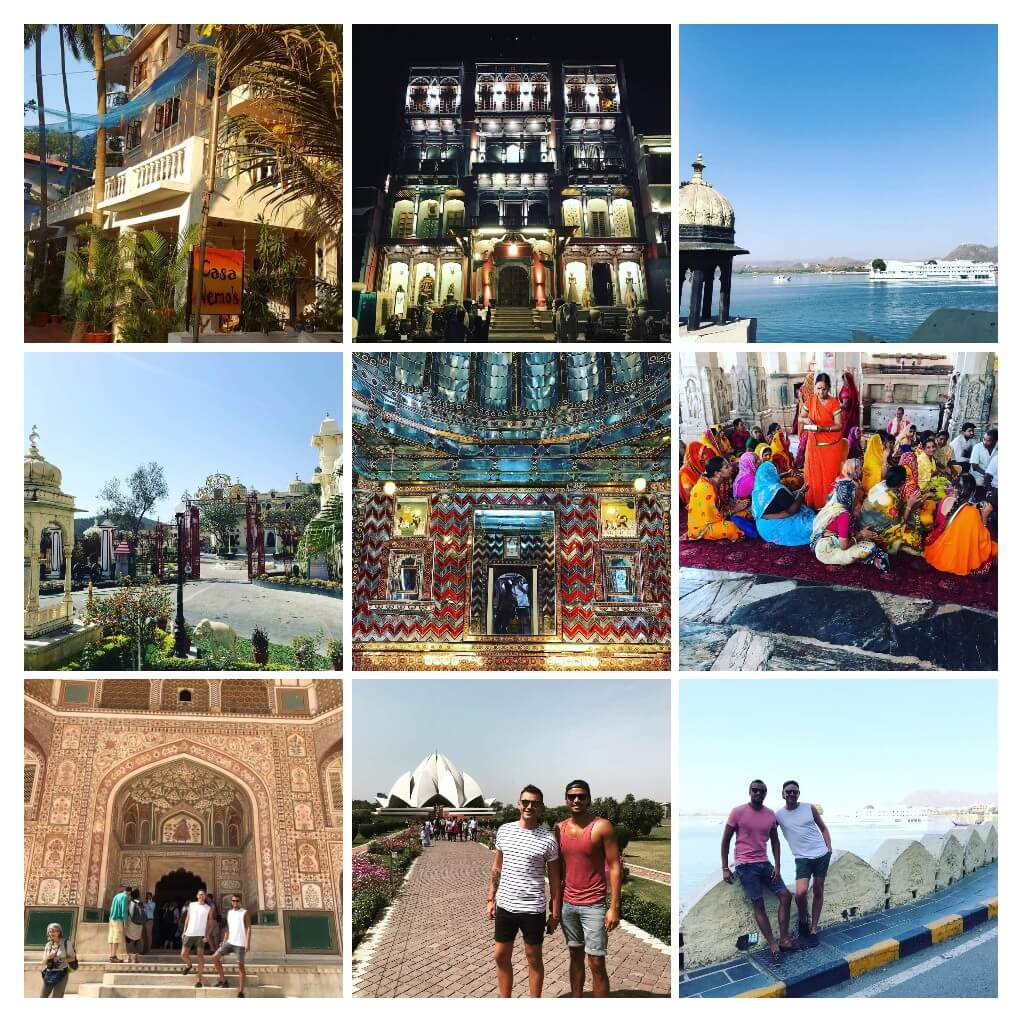 Collage of photos from Jaipur, Udaipur, Rajasthan tour