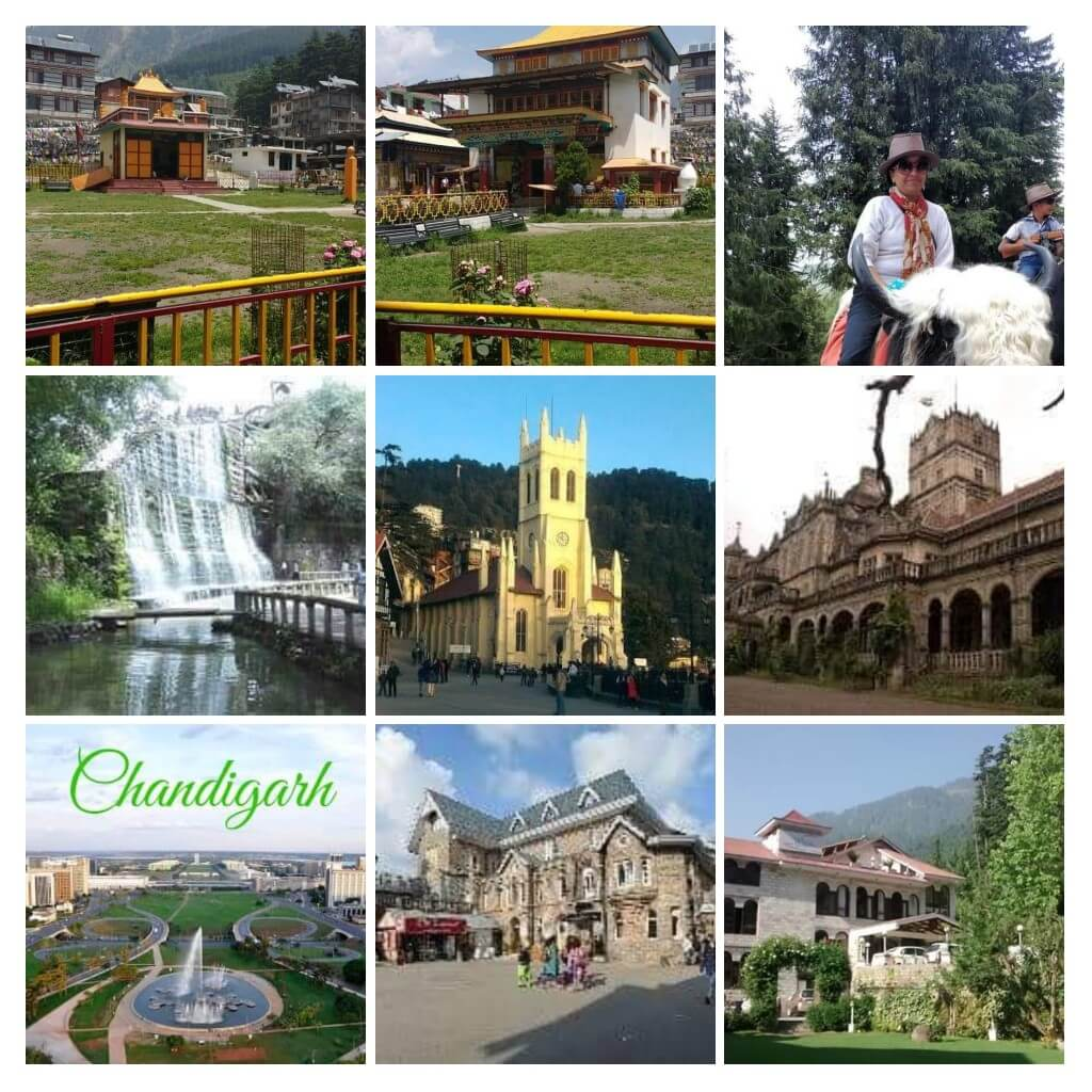 A Collage of different tourist spots and scenic blissful places to visit in Shimla, Manali, Chandigarh package tour