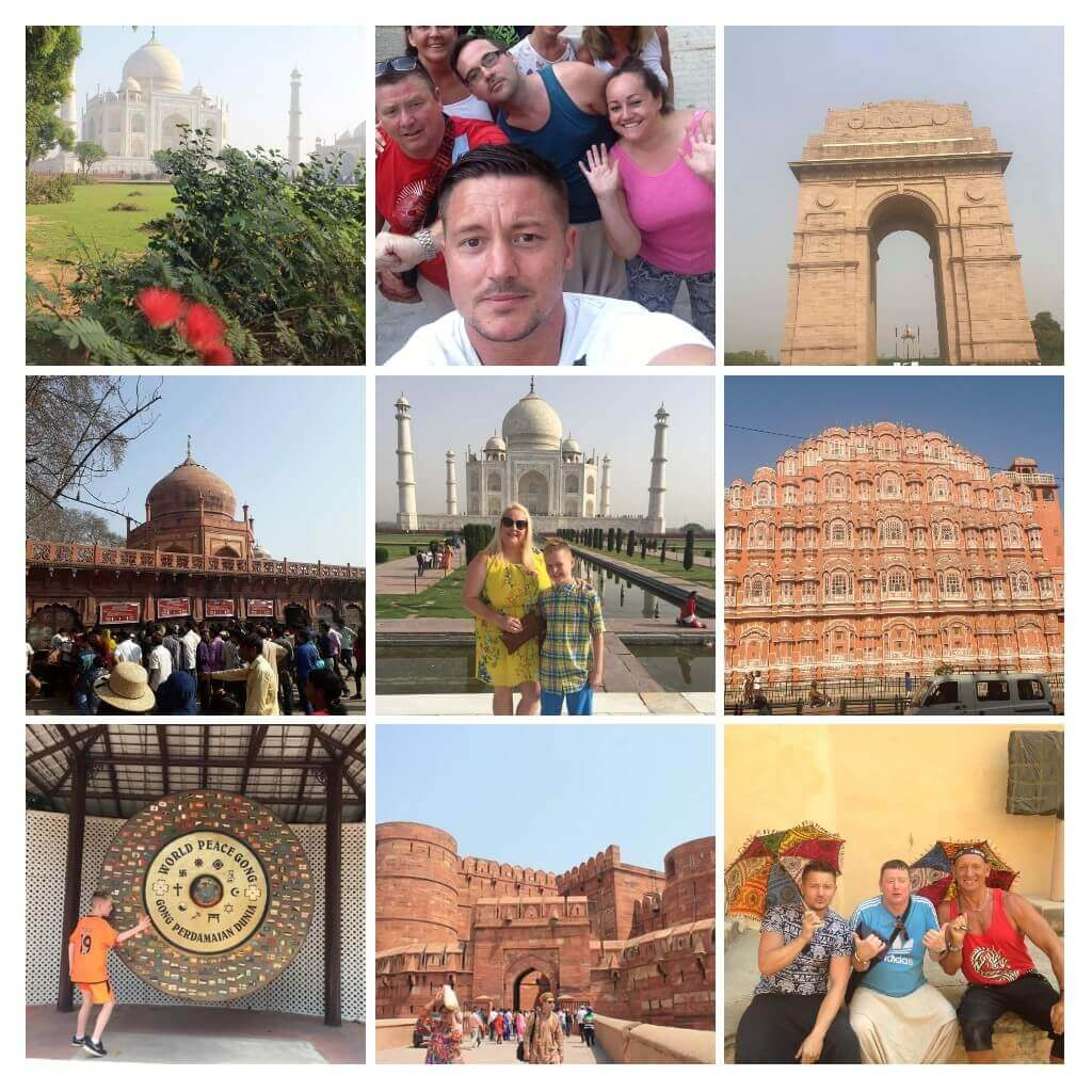 Golden triangle Delhi Agra Tajmahal n Jaipur pink city picture collage