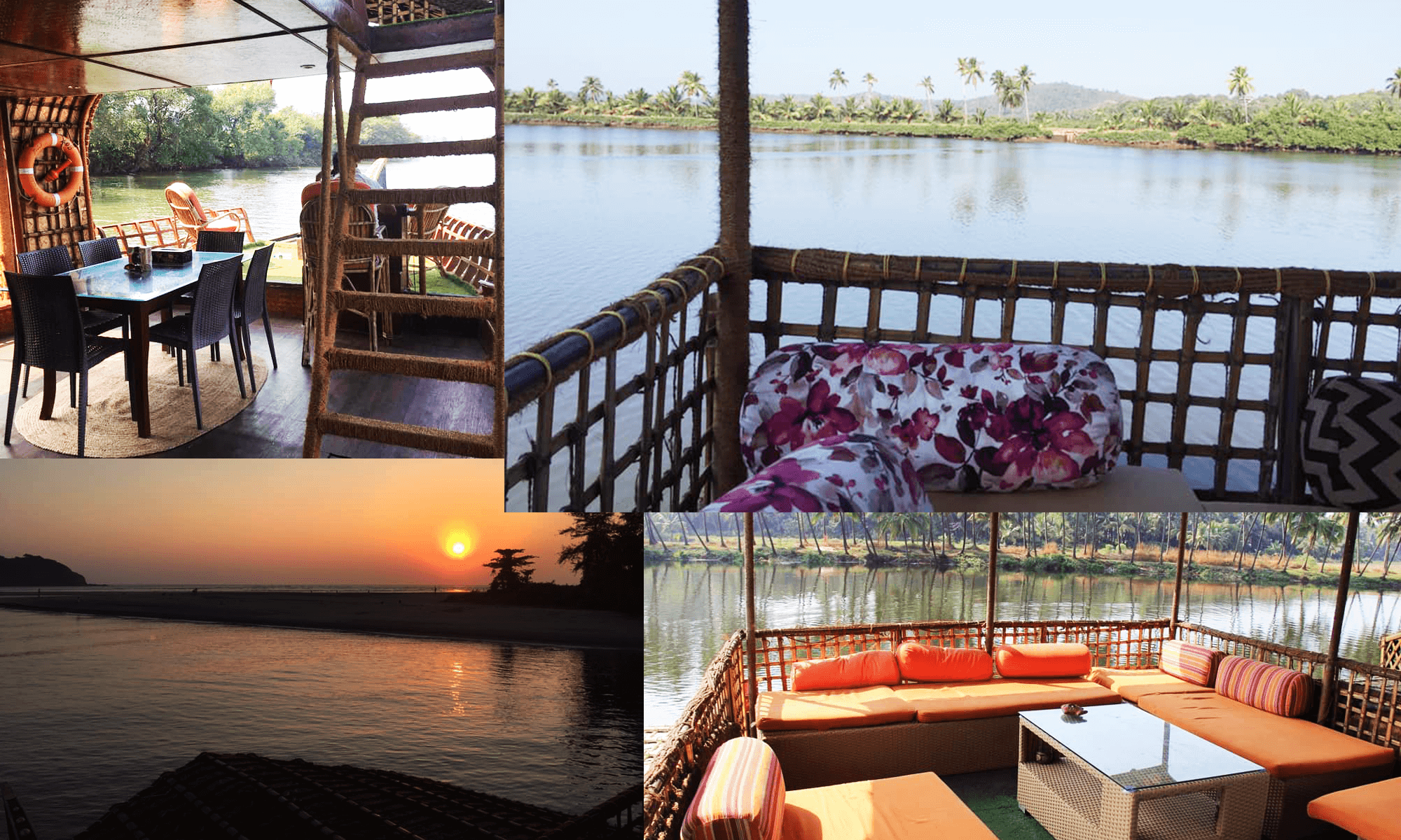 interior of the houseboat in goa