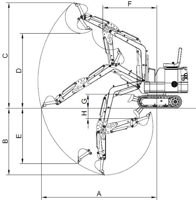 TECHNICAL SKETCH MINI EXCAVATOR XN08