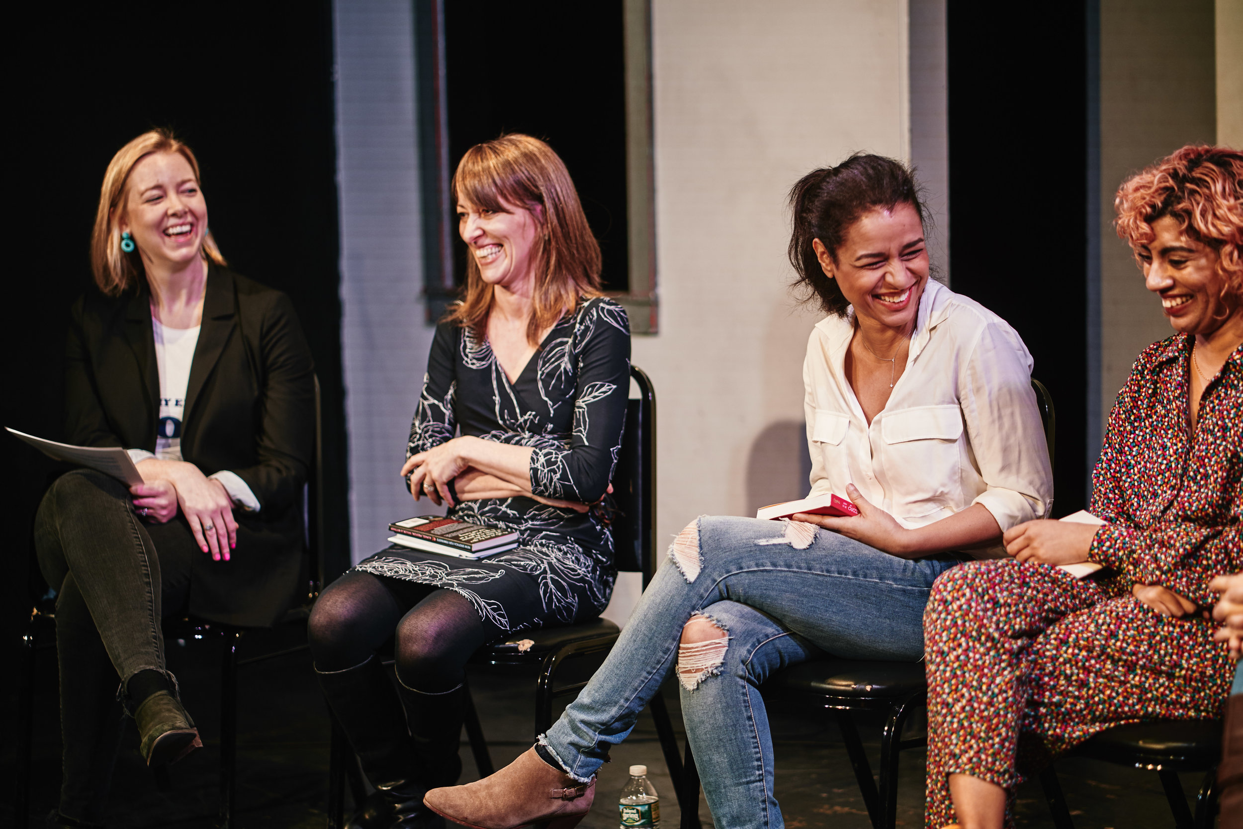 Moderator and Festival Co-Founder Caitlin Kunkel laughs with 2019 book panelists Susan Raihofer, Sarah Cooper, and Arti Gollapudi.